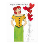 Valentine Girl with Hearts Post Card