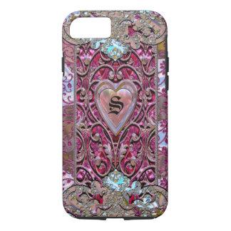 Valentine Girly Elegant Heart Monogram iPhone 8/7 Case