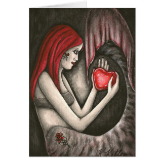 Valentine Gothic Mermaid with Heart  Greeting Card