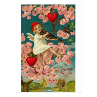 Valentine Greeting Cupid with Pink Roses Violin an Postcard