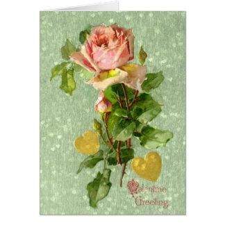 Valentine Greeting- Vintage Valentine Pink Roses Card