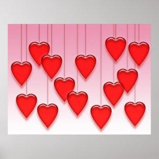 Valentine Hanging Hearts Poster