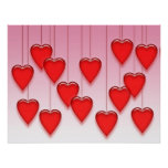 Valentine Hanging Hearts Posters