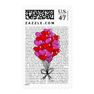 Valentine Heart Balloon Illustration Postage