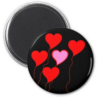 Valentine Heart Balloons 2 Inch Round Magnet