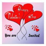 Valentine Heart Balloons Party Invitation