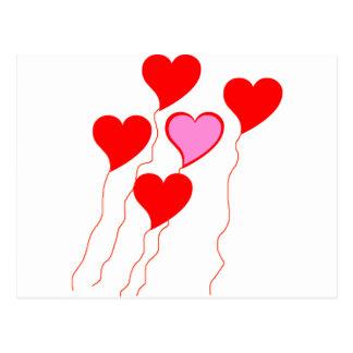 Valentine Heart Balloons Postcard