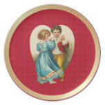 Valentine Heart Boy and Girl Dancing Dinner Plates