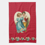 Valentine Heart Boy and Girl Dancing Hand Towels