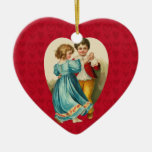 Valentine Heart Boy and Girl Dancing Ornaments