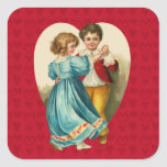 Valentine Heart Boy and Girl Dancing Square Sticker
