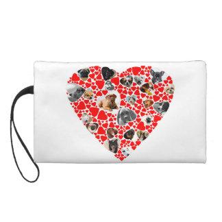Valentine Heart Dog Photo Collage wristlet