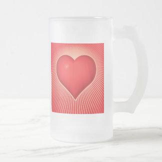Valentine Heart Frosted Glass Beer Mug