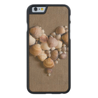 Valentine Heart Made with Shells Carved Maple iPhone 6 Case