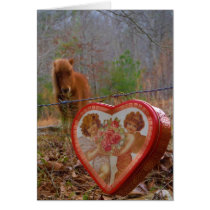 Valentine Heart  Miniature brown Horse Card