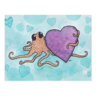 Valentine Heart Octopus Postcard