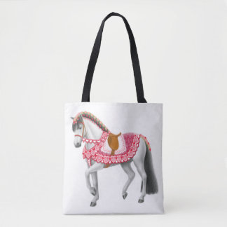 Valentine Heart Parade Horse Tote Bag