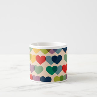 Valentine Heart Pattern Colorful Hearts Espresso Cup