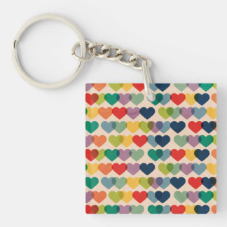 Valentine Heart Pattern Colorful Hearts Keychain