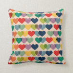 Valentine Heart Pattern Colorful Hearts Throw Pillow