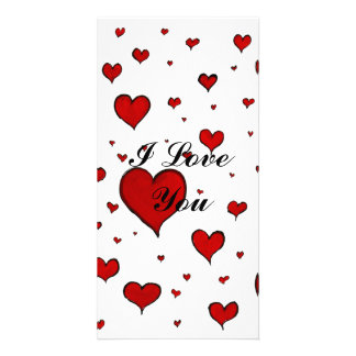 Valentine Heart Pattern Personalized Photo Card
