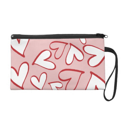 Valentine Heart Pattern Pink and White Hearts Wristlet