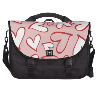 Valentine Heart Pattern Pink and White Hearts Laptop Bags