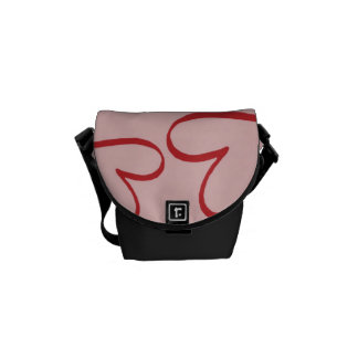 Valentine Heart Pattern Pink and White Hearts Courier Bag