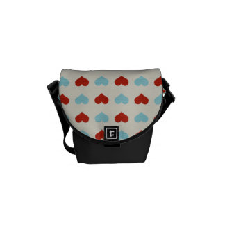 Valentine Heart Pattern Red and Blue Hearts Messenger Bag