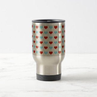 Valentine Heart Pattern Red and Blue Hearts Coffee Mug