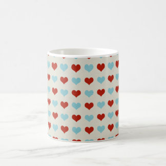 Valentine Heart Pattern Red and Blue Hearts Mug
