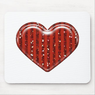 Valentine Heart Pattern Red Glitter Heart Mouse Pad