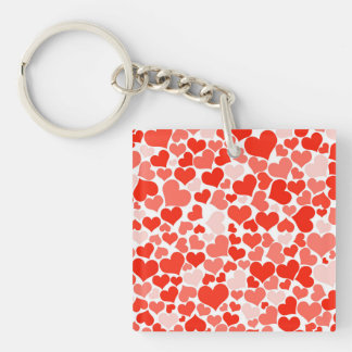 Valentine Heart Pattern Red Hearts Keychain
