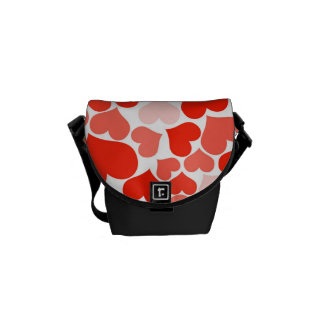 Valentine Heart Pattern Red Hearts Courier Bags