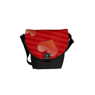 Valentine Heart Pattern Red Hearts Messenger Bags