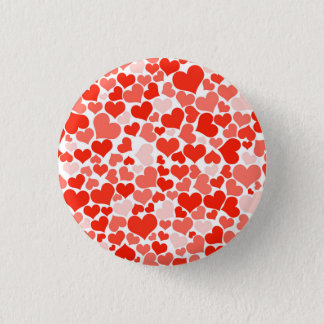 Valentine Heart Pattern Red Hearts Pinback Button