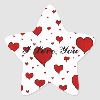Valentine Heart Pattern Star Sticker