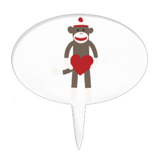 Valentine Heart Sock Monkey Cake Topper