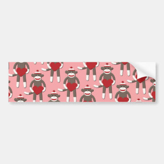 Valentine Heart Sock Monkey Print Bumper Sticker