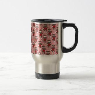 Valentine Heart Sock Monkey Print 15 Oz Stainless Steel Travel Mug