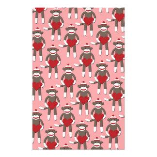 Valentine Heart Sock Monkey Print Stationery