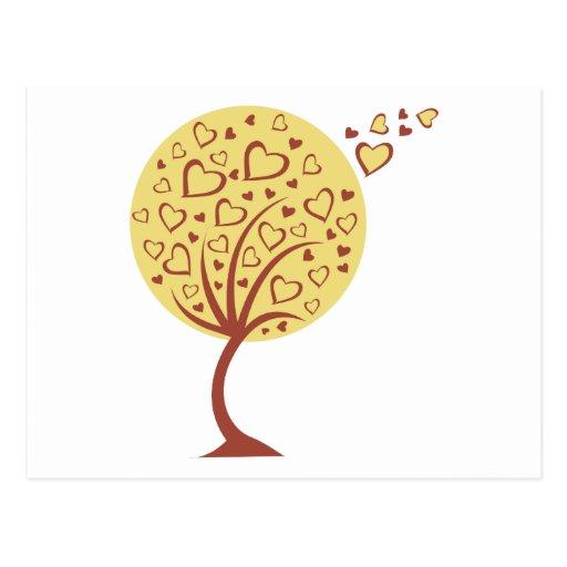 valentine heart tree postcard