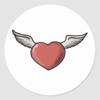 Valentine Heart With Wings Stickers