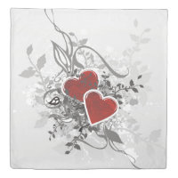 Valentine Hearts (2 sides) Queen Duvet Cover