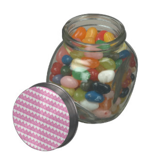 Valentine Hearts All in a Row Glass Jar