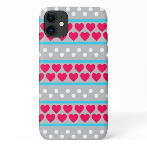 Valentine Hearts And Circles iPhone 11 Case