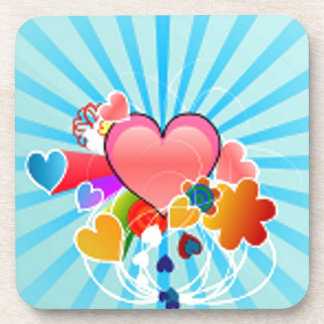 Valentine Hearts And Flowers Drink Coaster