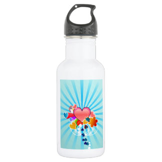 Valentine Hearts And Flowers Water Bottle