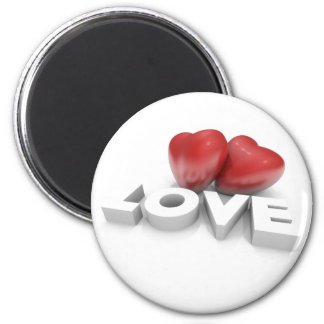 Valentine hearts and love Word 2 Inch Round Magnet