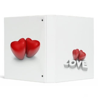Valentine hearts and love word 3 ring binder